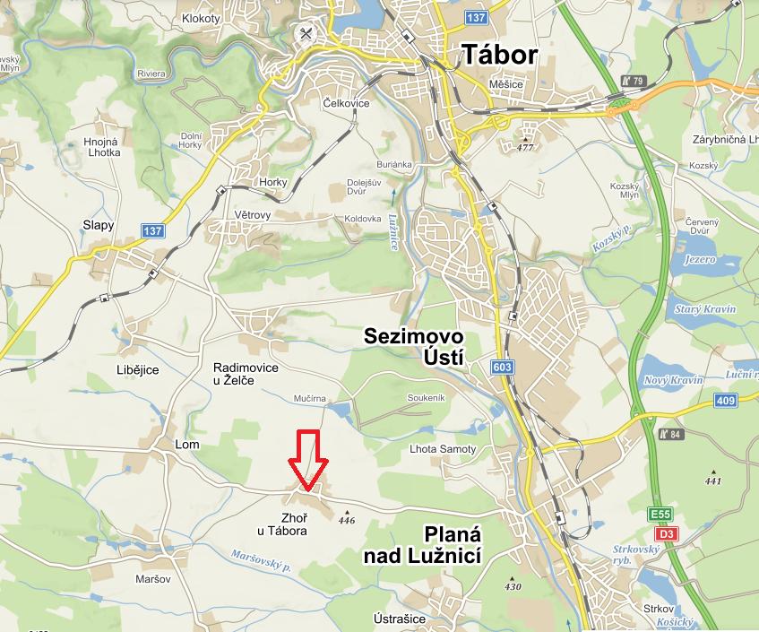 Mapa umístění - Zhoř u Tábora